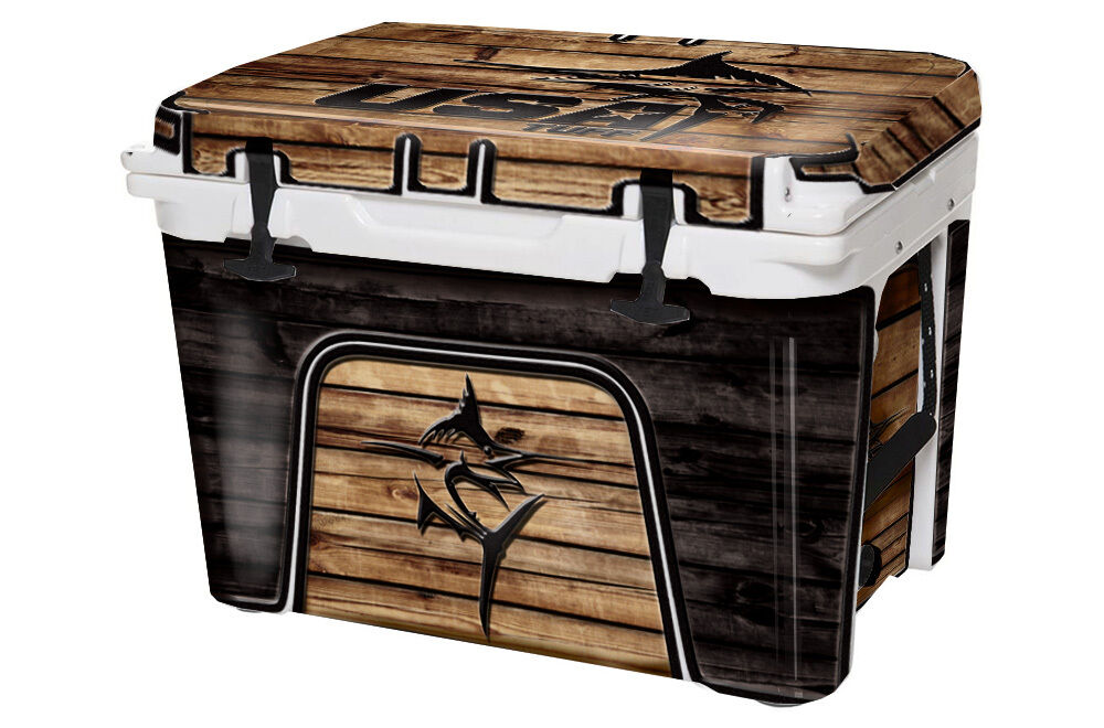 USATuff Custom Cooler Decal fits Wrap fits Decal YETI Tundra 45qt FULL USA Marlin WD 148870