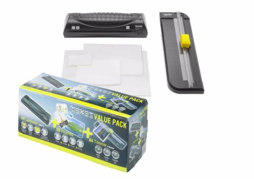 Texet Laminator and Paper Trimmer Value Pack Box With Laminate Pouches NEW