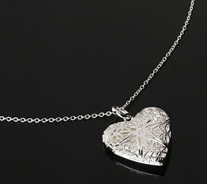 Valentine-Silver-Heart-lover-locket-Chain-Pendant-Photo-Frame-Necklace-Gift-JT12