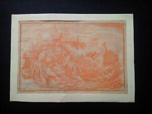 Rare gravure sanguine Boucher scène galante Sarasin XVIIIème estampe