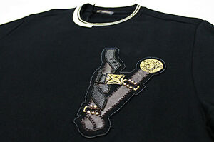 Italia-Versace-Leather-Embroidered-Medusa-V-French-Terry-Felpa-S