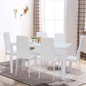 Image Is Loading Rectangle Gl White Dining Table Set And 6