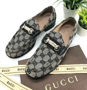 Gucci-Authentic-Vintage-90s-GG-Logo-Horsebit-Loafers-Grey-Black-Canvas-37B-US-7