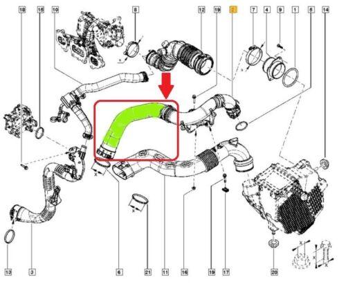 RENAULT CLIO IV 0.9 TCE TUYAU D/'INTERCOOLER TURBO DURITE 144604208R