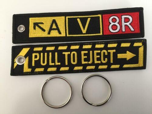 Deux Qualité Brodé Porte-Clés fobs AV8R /& Pull à éjection Gratuit P P.,
