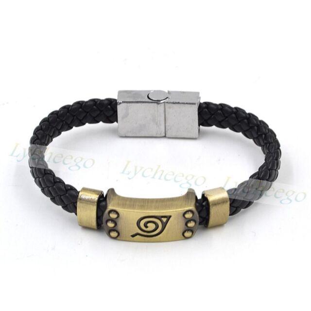 HOT Anime Naruto Bracelet Leaf Mark Brown Wristband Cosplay Bangle PU Leather