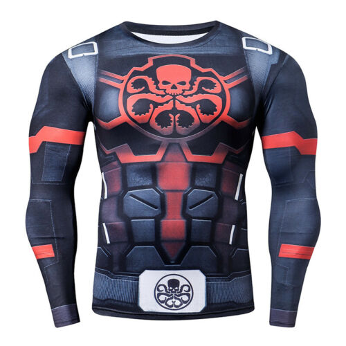 Avengers Bjj Rash Guard Mma Compression Long Short Sleeve Top Men/'s Base Layer