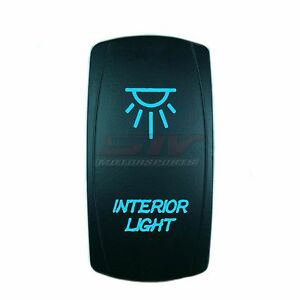 12V Waterproof ON/OFF INTERIOR LIGHTS Rocker Switch BLUE for Marine Boat Car