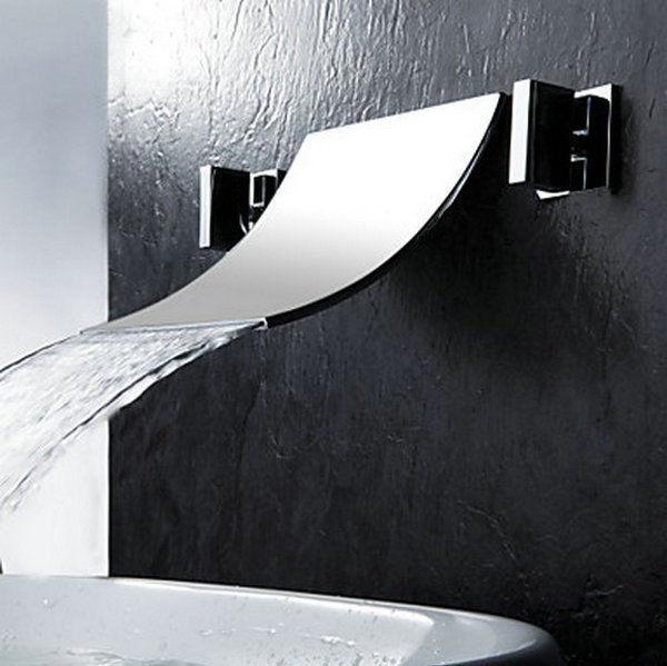Luxe cascade mural bain bassin évier mitigeur baignoire robinet chromé robinet