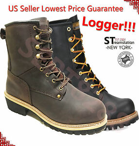 LM Men's Work Boots Rugged Pioneer Logger Boot Steel Toe Good ...