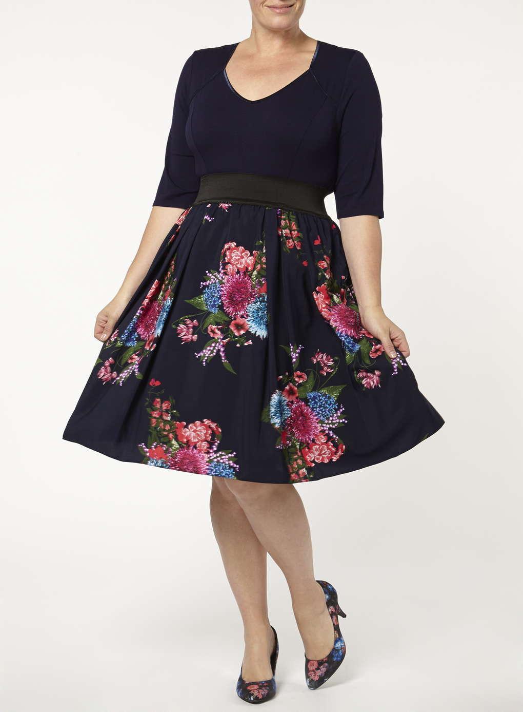 Kleid Gr.50 Midikleid Sommerkleid Stretchkleid Blüten blau Plus Größe Scarlett&Jo