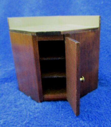 Dollhouse Miniature Brown Wood Kitchen Corner Base Cabinet 1:12 Scale New VINTAG