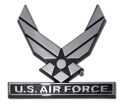 "U.S 3.5/"" Chrome Metal Auto Emblem Air Force Wings"