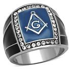 Men's Stainless Steel Mason Masonic Freemason Rectangle Blue Black Lodge Ring
