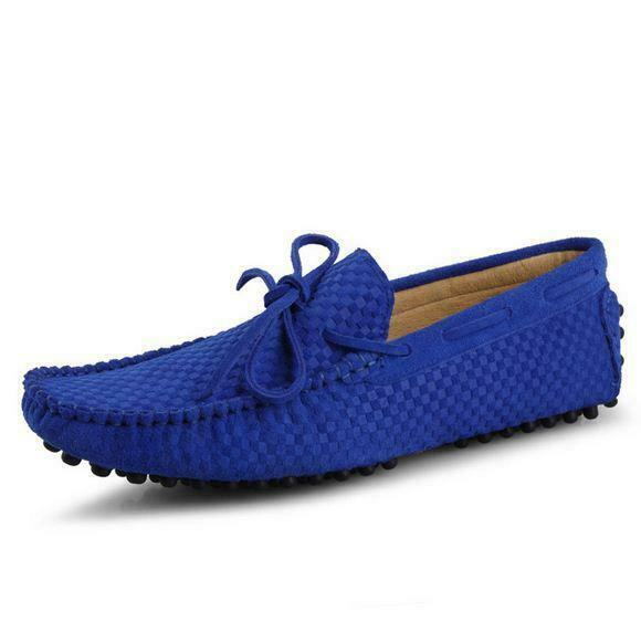 Mens slip on low top loafer flat suede leather casual driving gommino shoes