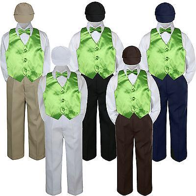 4T 5pc Baby Toddler Boys Royal Blue Vest Bow Tie Brown Pants Hat Suit Outfits S-7