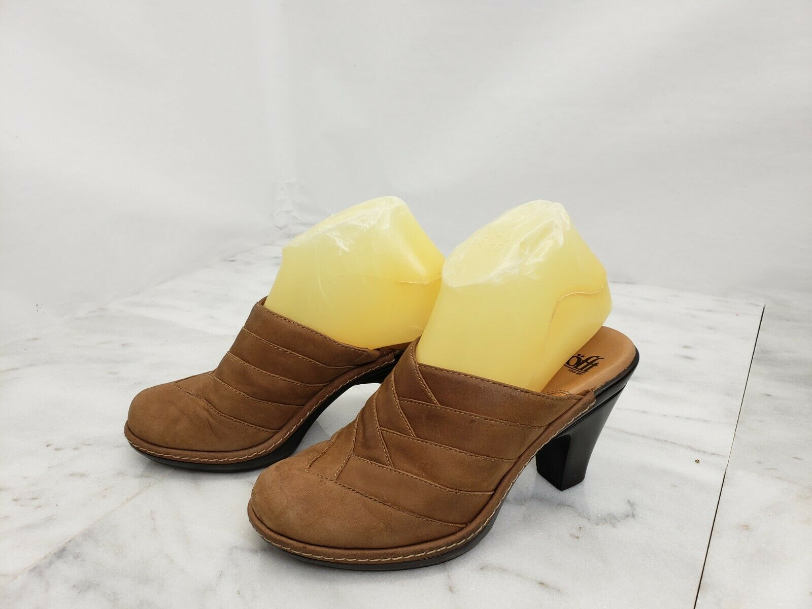 SOFFT Women's Shoes Soft Leather Slip On Heel Clogs Brown Size 6 M