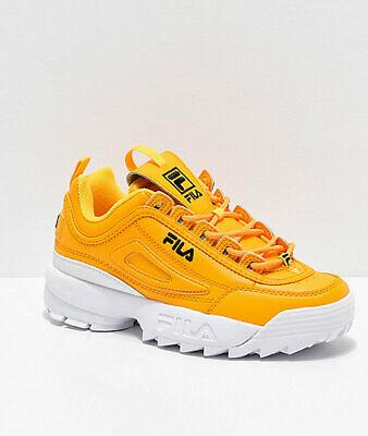 Nuevo para mujer fila Disruptor II Premium Zapatos Blancos Amarillo dos 2 | eBay