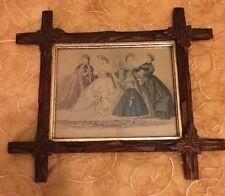 Antique Les Modes Parisiennes French Fashion Plate 1850's Cross Wood Frame Print