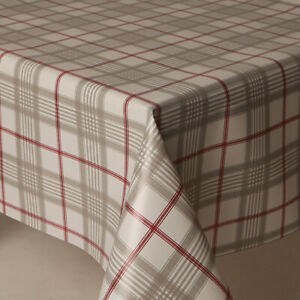 Image Is Loading Tartan Grey White Red Checked Striped Pvc Plastic