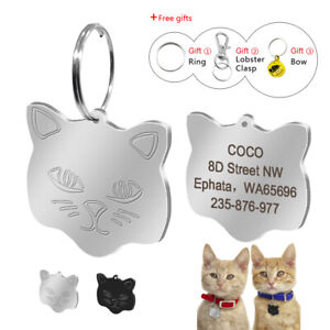 Stainless-Steel-Cat-Face-Engraved-Cat-Tags-Disc-Personalised-Name-ID-Collar-Tag