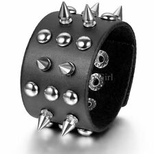 Metal Tone Stud Rivet Spike Punk Black Leather Bangle Cuff Bracelet Wristband