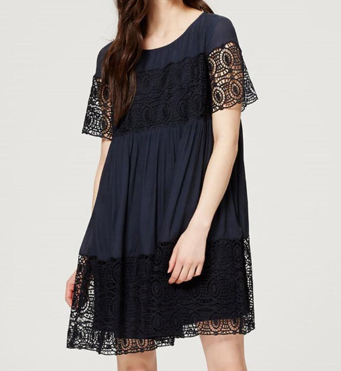 Ann Taylor Loft - Lace Babydoll Dress - Größe SP, XS NWT  - Fresh Navy