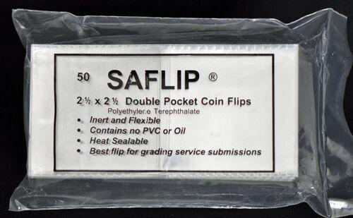 Saflip 2 1//2 x 2 1//2 Double Pocket Coin Flips Pack of 100 2packs of 50