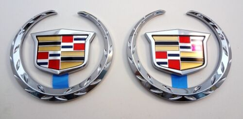 SET OF 2 Cadillac CHROME WREATH /& CREST 3 INCH!!