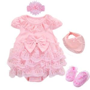 Newborn-baby-girls-summer-bodysuit-headband-shoes-bib-party-dress-baby-gift
