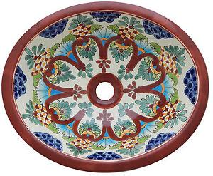 Mexican Bathroom Talavera Sink Handmade Ceramic Mexico # 205