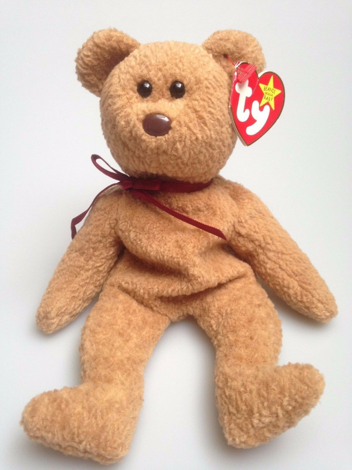 Collectable Rare Retired TY Beanie Baby CURLY THE BEAR With Rare Tag Errors