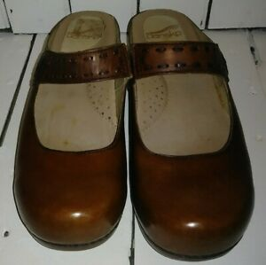 Dansko-Brown-Solitaire-Mary-Jane-Slip-On-Leather-Clog-Shoes-Size-39-8-5-9