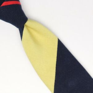 John-G-Hardy-Mens-Silk-Necktie-Buff-Pale-Yellow-Navy-Blue-Red-Regimental-Stripe