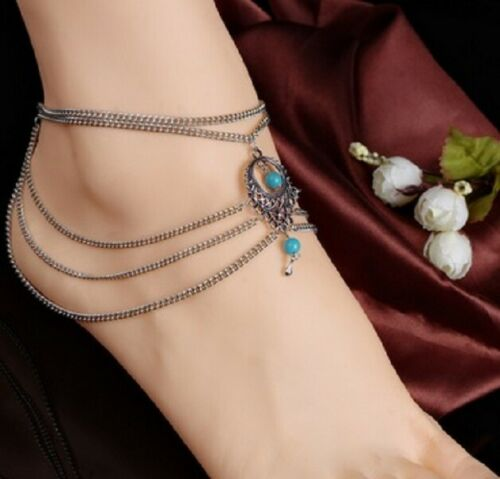 Bohemian Anklet Ankle Chain Silver Gold Blue Stone Beads Beach Sea Foot UK Shop