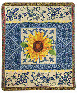 "THROWS - ""COSTA DEL SOL"" SUNFLOWER TAPESTRY THROW BLANKET - 50"" X 60"""