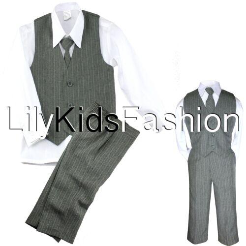 Baby Toddler Boy 4 PC Vest Set Pinstripe Formal Wedding Tuxedo Suit Gray S-20
