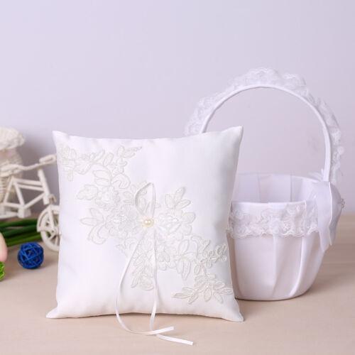 NEW White Lace Flower Girl Basket Satin Ring Bearer Pillow Wedding Decor T5X0