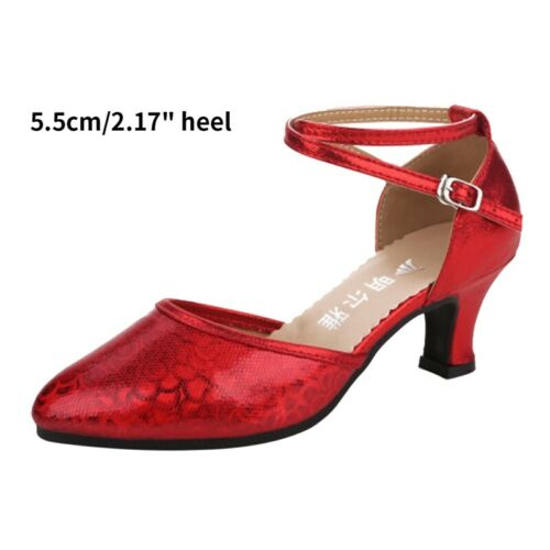 New Womens Latin Dance Shoes Ladies Ballroom Tango Party Shiny Heeled Sandals