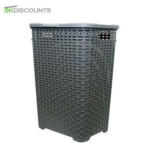 60L-Large-Rattan-Plastic-Laundry-Bin-Washing-Bin-Multi-Storage-Basket-Grey