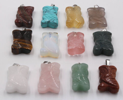 Wholesale Beautiful Carved Mixed Natural Stone owl Charms Pendentif Bead 12pcs//lot