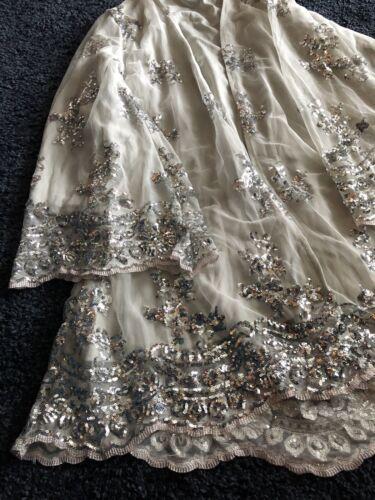Women White Silver sequin Grey Dress Kimono Bling