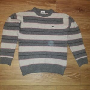 a24f9e62b6d Details about Lacoste boys Grey/pink striped wool Jumper. Size 3
