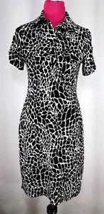 En-Focus-Studio-Black-White-Animal-Print-Stretch-Dress-Size-6