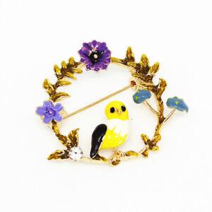 Women-039-s-Enamel-Crystal-Flower-Wreath-Bird-Charm-Betsey-Johnson-Brooch-Pin-Gift