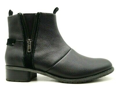 HUSH PUPPIES HAYWORTH BOOTS Leather Womens Black Ankle Shoes Flats Zip $179.95