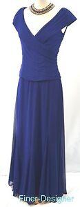 Alex-Evenings-Blue-Women-Portrait-ruching-Ball-Gown-Mesh-Dress-MOB-12-NEW-179