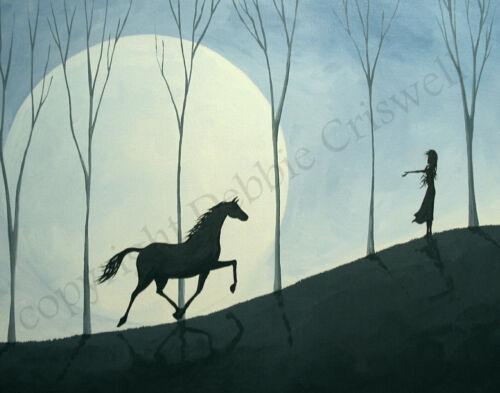 11x14 Art Giclee Print Vibe horse landscape inspirational girl woman modern DC