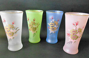 SET-OF-4-X-VINTAGE-1950s-HARLEQUIN-FROSTED-DRINKING-GLASSES-WITH-ROSE-DECAL