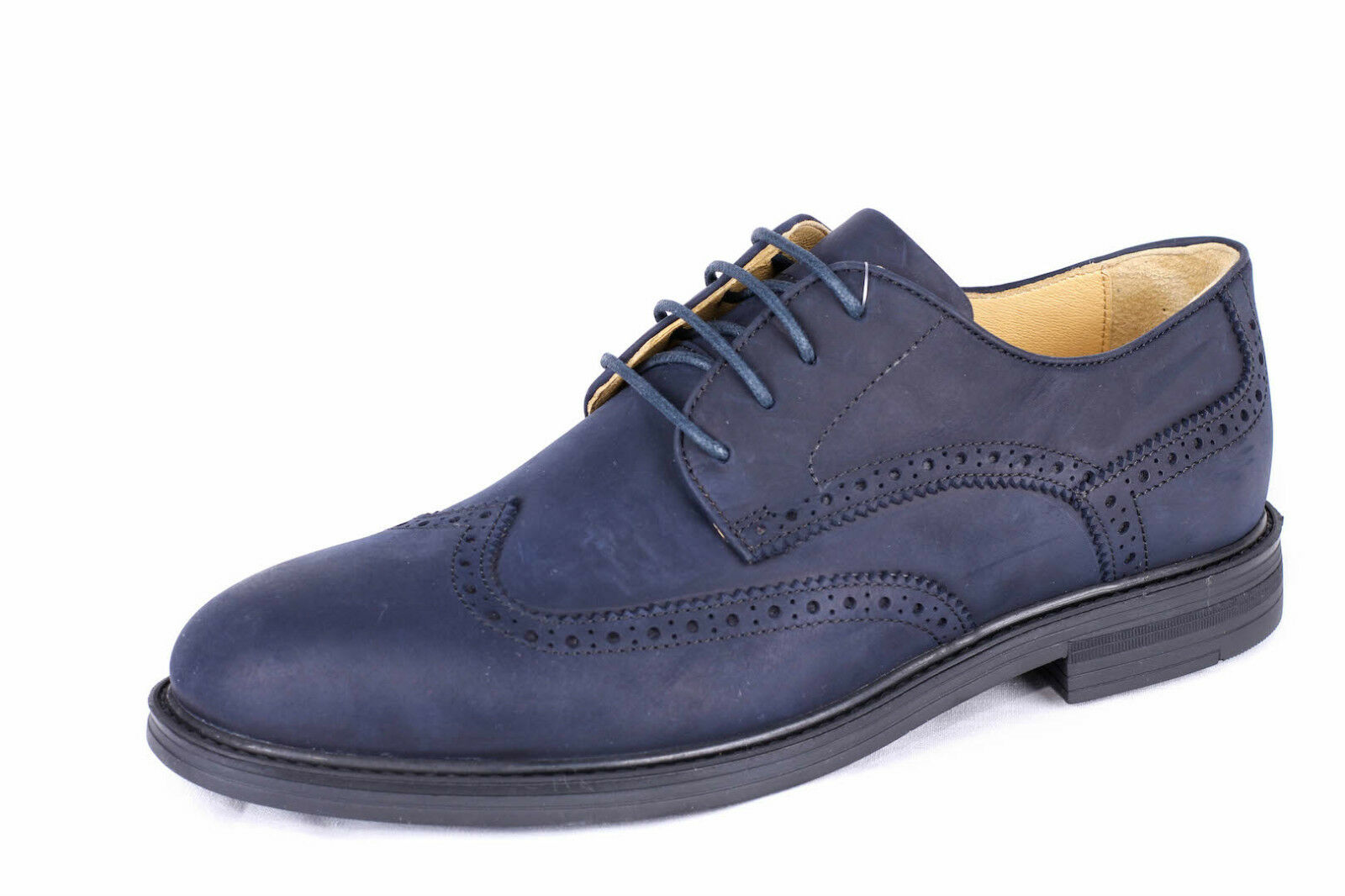 Size 7 (41) Steptronic Navy bluee brogue oily leather lace gibson shoes sheepskin